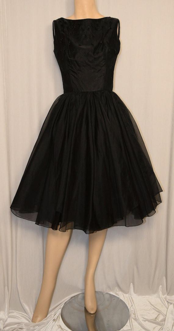 VINTAGE 1950s SUZY PERETTE Black Beaded Chiffon Co