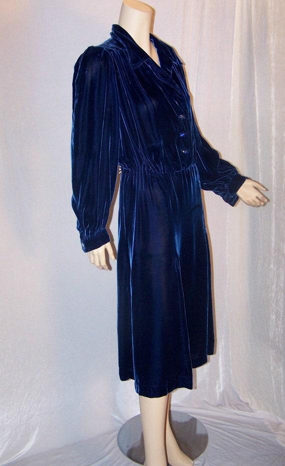 VINTAGE 1930s Royal Blue Silk Velvet COUTURE Dress