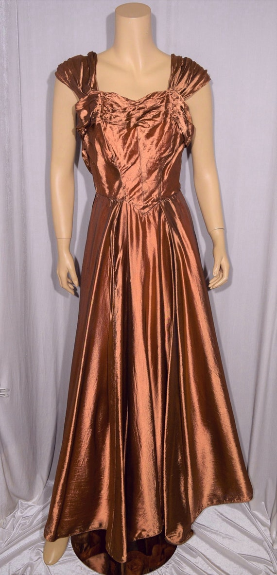 VINTAGE 1940s Irridescent Copper Dance BALL GOWN ~