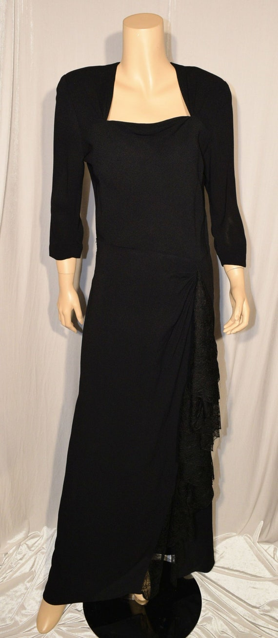 VINTAGE 1940s ~ FRANK STARR ~ Black Crepe Lace Swa