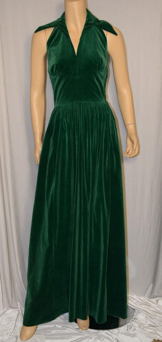 VINTAGE 1940s Green Cotton Velvet Halter Dress Gow
