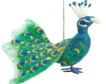 peacock needle felted bird xmas tree decorations christmas wool felt merino wool ethical handmade