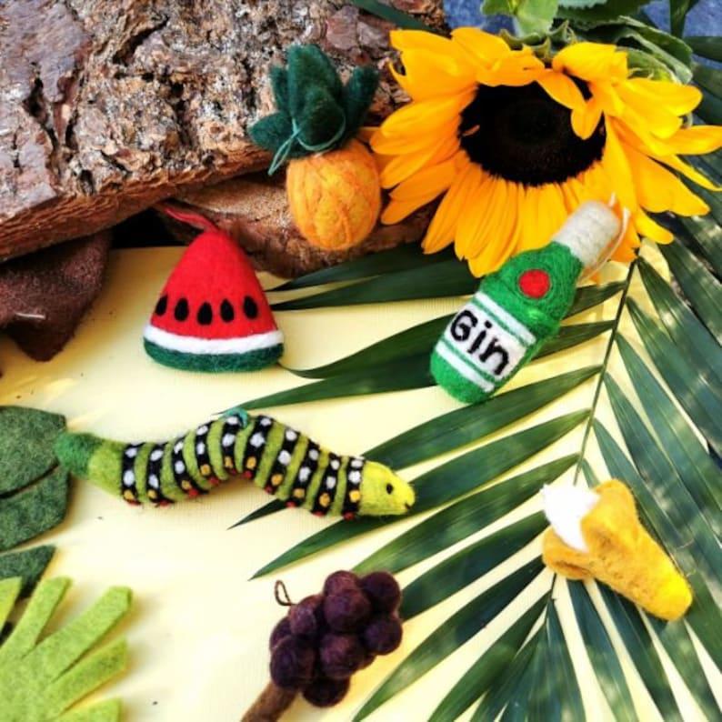 Biodegradable Needle Felt Eco Friendly Sustainable Felt so good Carl the Caterpillar Hanging decoration Hand Made Fair trade