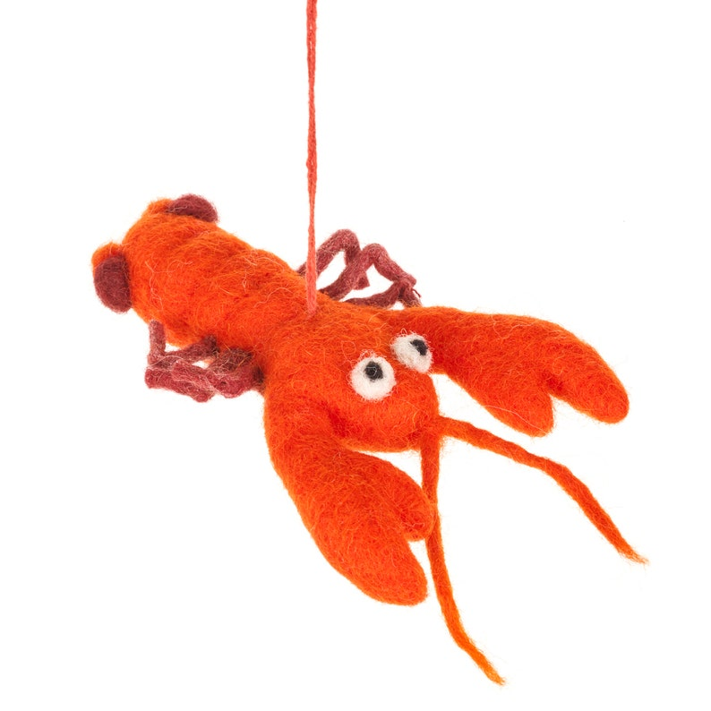 Needle felt Biodegradable Eco friendly Hanging Louella the Lobster Fair trade Sustainable Plastic free