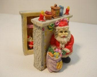 Vintage Santa with Bag & Chimney Opens Up Christmas Figurine