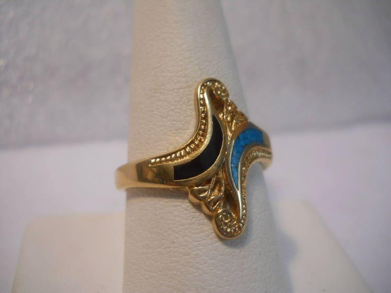 24 kt GP Turquoise /& Black Stone Designer Ladies Ring Size 9 #FJW531