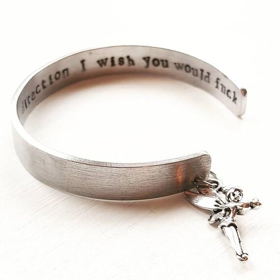 2fe351c3f00db Custom bracelet, secret message bracelet, motivation jewellery, gift for  her, inspiration cuff, sweary jewellery, profanities bangle,