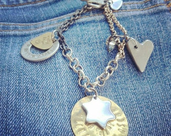 Personalized, my sky full of stars, family bracelet with stamped metal charms,special birthday gift,mum sister daughter
