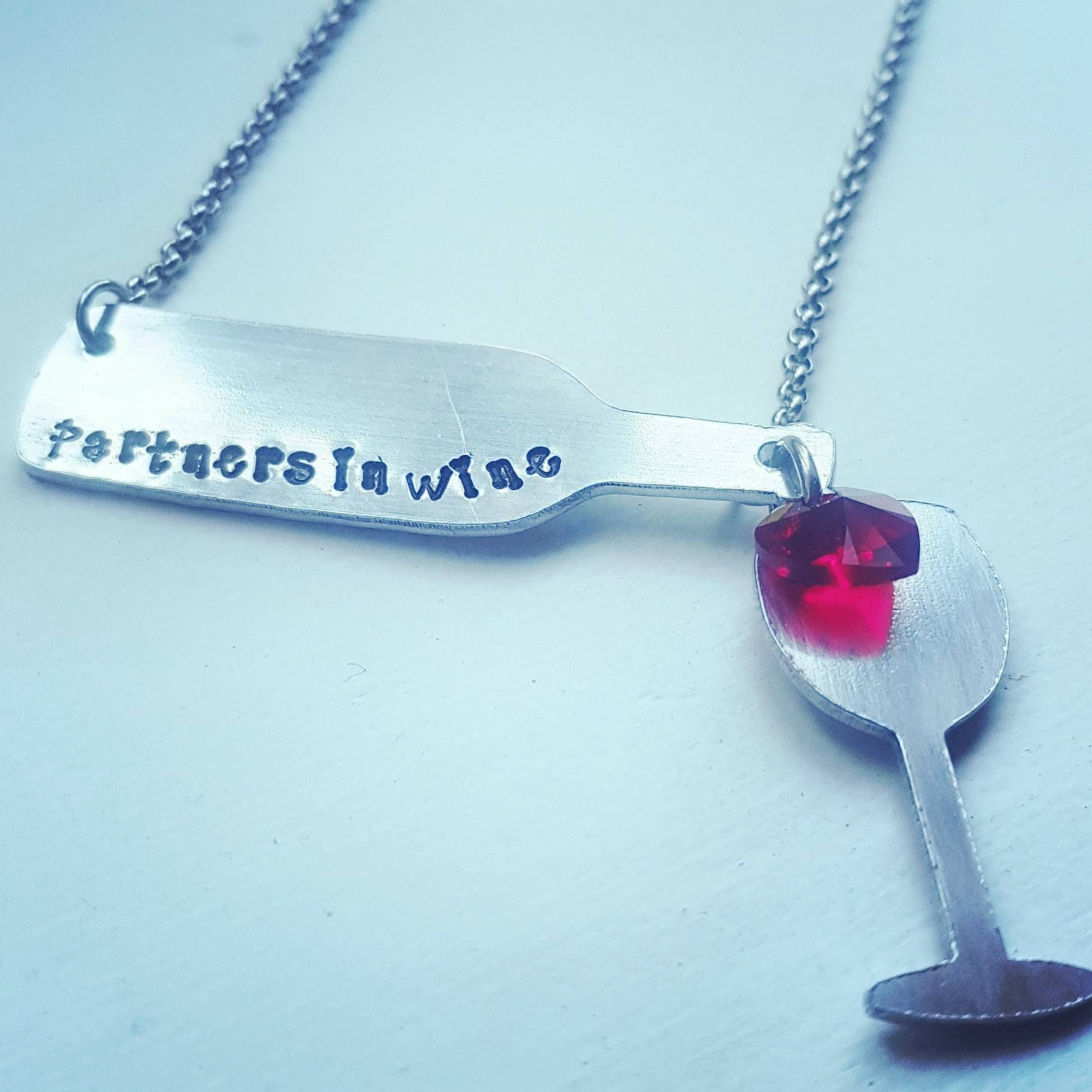 8d958138e13ff Partners in wine pendant, wine lovers necklace,