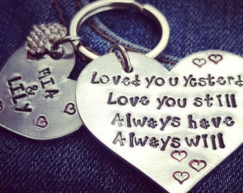 Personalised keyring Loved you yesterday love you still always have always will, love heart keyring,children's names keyring,metal stamping,