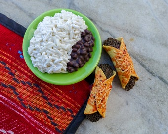 Enchiladas (2) with Rice and Black Beans - Handmade Gourmet Doll Food For Your American Girl Doll