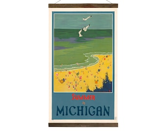 Summer in Michigan Travel Poster, Free Shipping