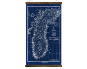 Lake Michigan in 1933 replica nautical chart, Free Shipping