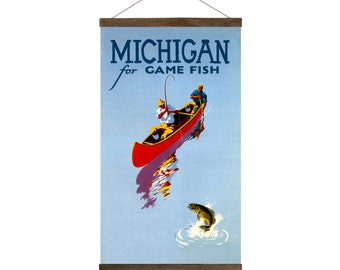Fish Michigan, Travel Poster wall hanging art, Free Shipping
