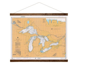 Great Lakes in 1975 nautical chart wall hanging, Free Shipping