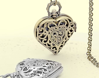 Valentine's heart pocket watch necklace pendant, filigree heart watch necklace, vintage style watch necklace pendant, come with free chain