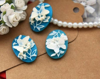 Set of 4 Cabochon resin 25 * 18mm (R28A03) 3D Butterfly cameo