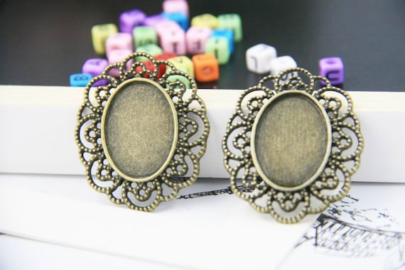 50x Cabochon Base Heart Pendant Setting Trays Diy Blank Jewelry Bezels