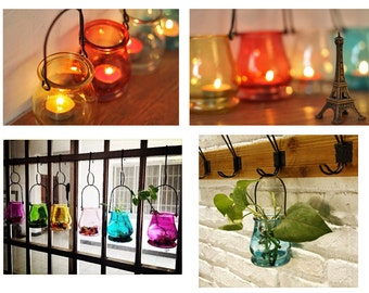 HOT Home deco Hanging glass container Plants container Candle holder Tea light holder Wedding Decoration Centerpieces Supplies