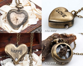 15% OFF Valentine's Day heart pocket watch necklace pendant, with 70cm chain, lover watch, St. Valentine craft supplies