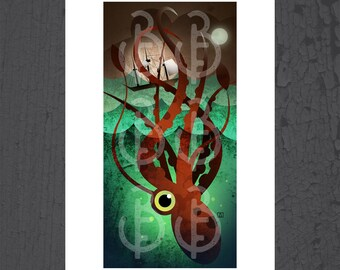 stay magical wall art print.htm giant squid art etsy  giant squid art etsy