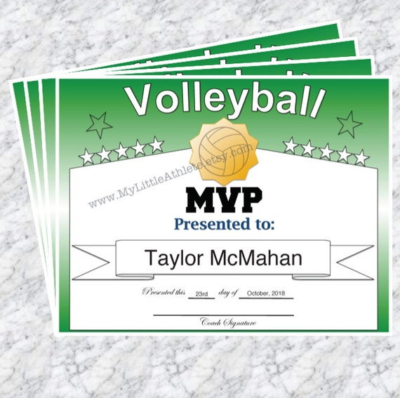 Volleyball Award Certificate Pack of 15