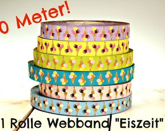 """50 meters WEBBAND """"Ice Age"""" free color choice (0.90 Euro/meter)"""
