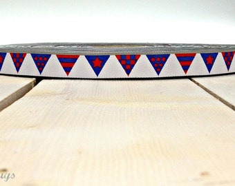 """2 meter WEBBAND """"pennant chain"""" red-blue (1.50 Euro/meter)"""