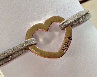 Hand-stamped heart with name of your favorite