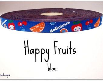 """2 meters of ribbon """"Happy Fruits"""" blue (1.50 Euro/meter)"""