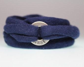 hand-stamped wrap bracelet **