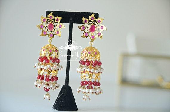 Farheen Gold plated Ruby Fan Jhumkas Large chandelier earrings with rubies