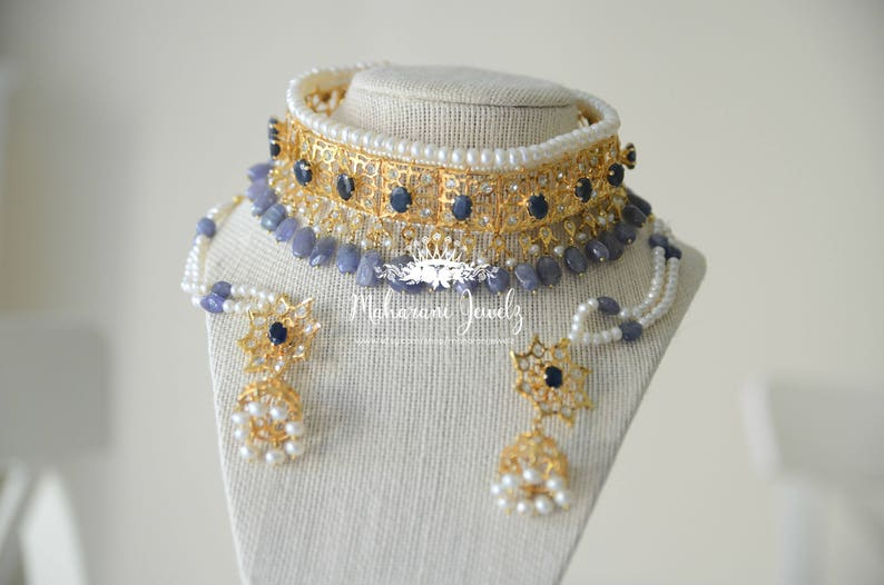 Neelam Blue Sapphire Hyderabadi guluband Javadi Lacha Gold plated collar with natural pearls and blue sapphires