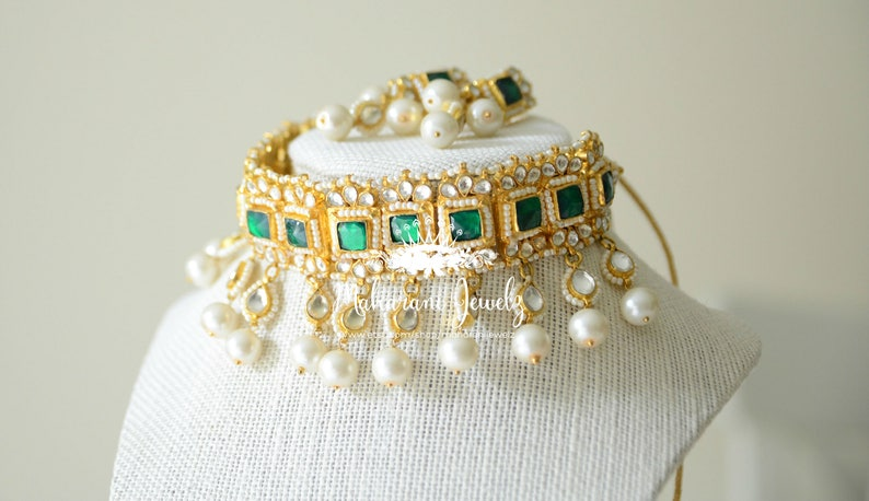 f9587c9b9433f Tahmina Guluband with 24 K gold plating/ bridal choker with  earrings/Emerald gold and pearls statement necklace