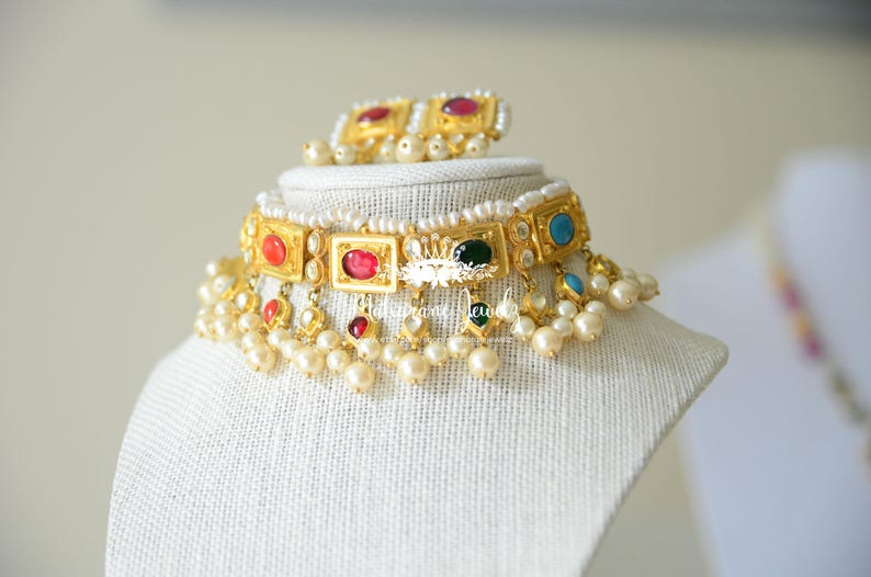 07ed191c5b2f2 Amreeta Antique Style Guluband with Multi color stones and pearls 24 K gold  plating
