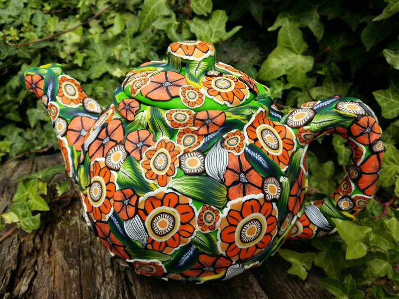 Hand Made Decorative Polymer Clay Orange Tea Pot. image 0