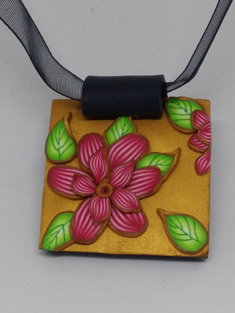 Hand Made Polymer Clay Red Flower Pendant. image 0