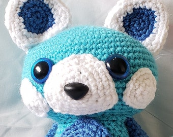 "Blue Red Panda Amigurumi Plushie - 8"" Tall - Glitter Eyes - Floppy"