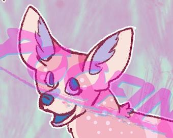 Rosegold Fennec Fox Adoptable - OC Furry Fursona Adopt Bright Sparkle