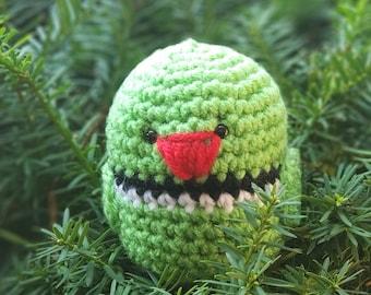 Green Ring Neck Parakeet Plushie - Handmade Bird Amigurumi