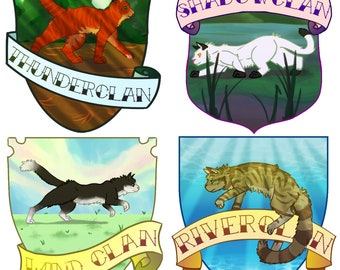 """Warriors Cat Clan Crests 3"""" Vinyl Stickers - Thunder River Wind Shadow - Artist Designed - Book Fan Cats Pets"""