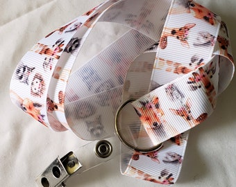 Ribbon Lanyard for Conventions - Kawaii Flower Crown Forest Animals - Furry Anime Fursuit Furries Vegan