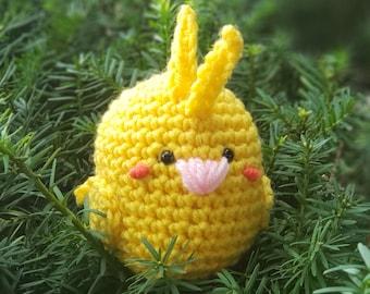 Yellow Lutino Cockatiel Plushie - Handmade Bird Amigurumi