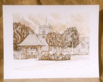 Giclee print of Swinderby Church, Lincolnshire