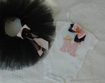 Newborn Welcome Home Outfit, Baby Girl Newborn Tutu Outfit, Black and Pink Newborn Outfit, Monogram Newborn Outfit
