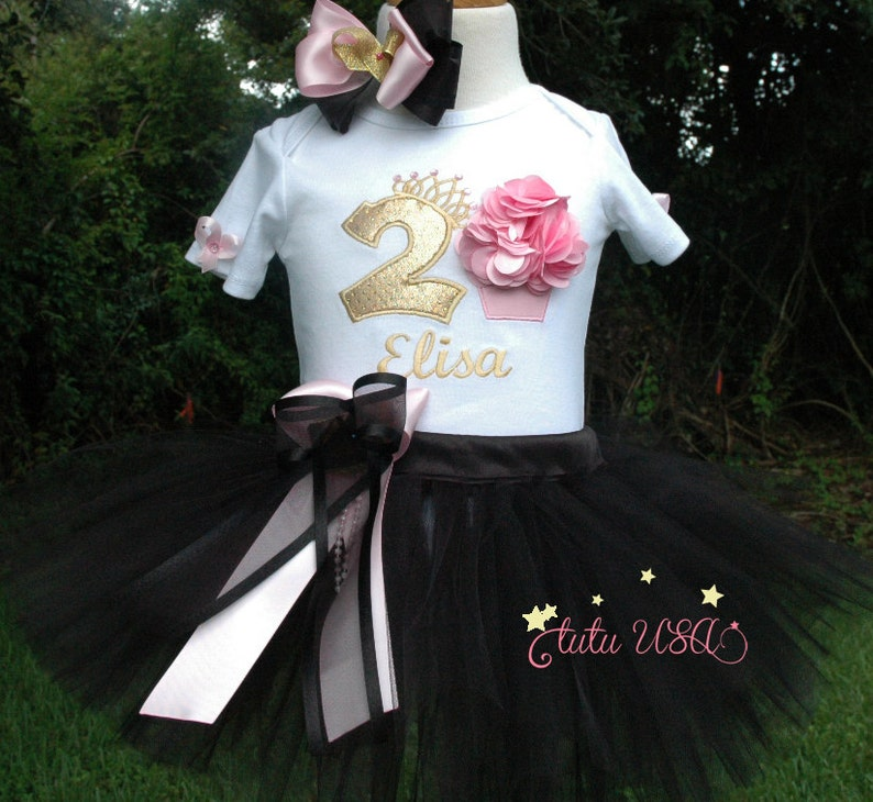 Black and  Gold and Black 2nd Birthday Girl Outfit 2nd image 0