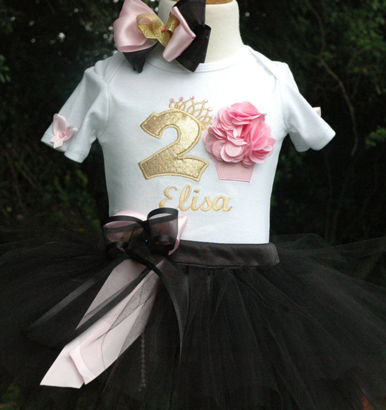 07c82b47b43 Black and Gold and Black 2nd Birthday Girl Outfit 2nd