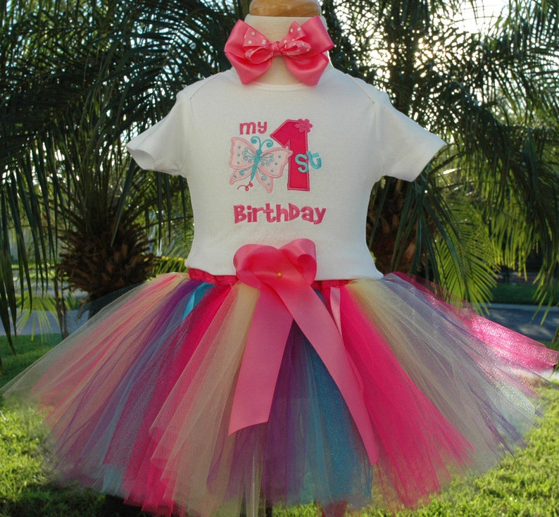 Butterfly 1st birthday tutu outfitincludes tutubowand image 0