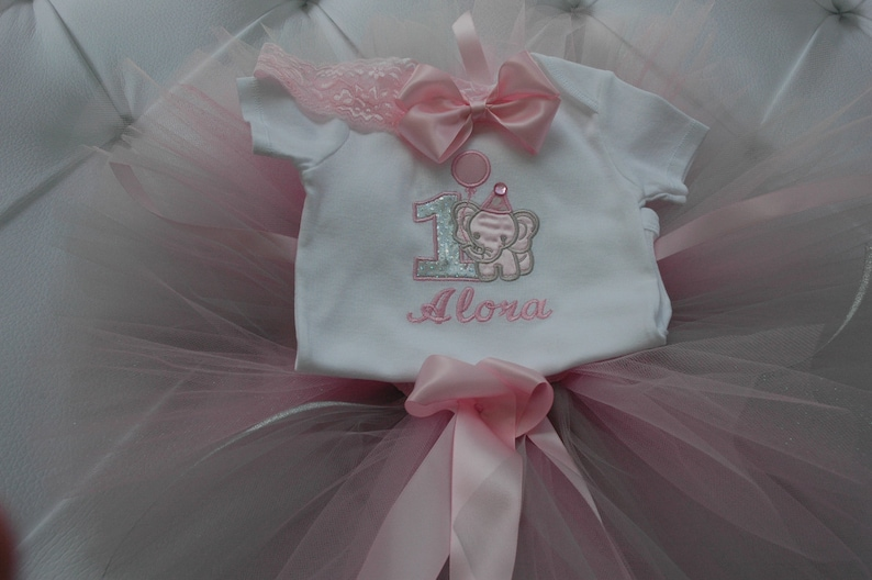 Baby Elephant Baby Girl 1st Birthday Outfit 1st Birthday Pink image 0