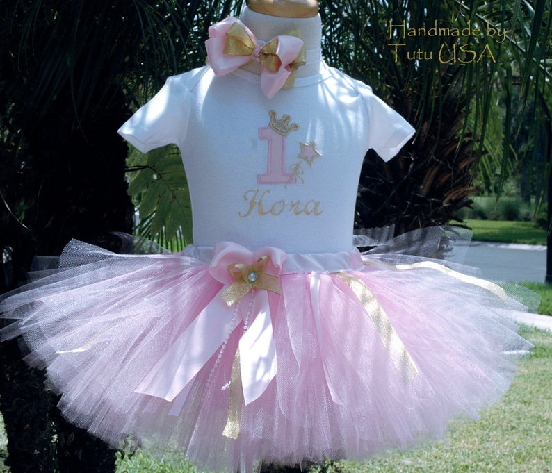 pink and gold first birthday tutu 1st outfitwild one image 0